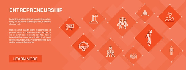 기업가 정신 배너 10 아이콘 개념입니다. 투자자, 파트너십, 리더십, 팀 빌딩 간단한 아이콘