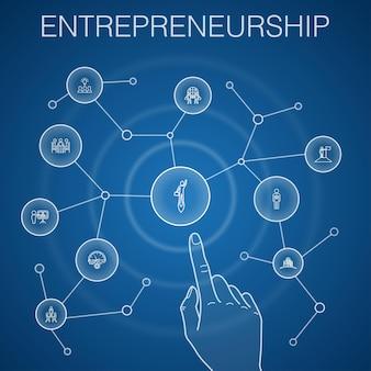 Концепция предпринимательства, синий фон. инвестор, партнерство, лидерство, иконки тимбилдинга