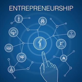 起業家精神の概念、青い背景。投資家、パートナーシップ、リーダーシップ、チームビルディングのアイコン