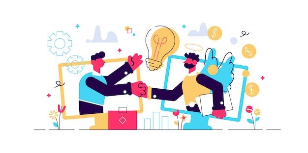 Финансирование предпринимательства, инициативные инвестиции, финансирование идей. ангел инвестор, финансовая поддержка запуска, бизнес-профессионалы помогают концепции. яркий яркий фиолетовый изолированных иллюстрация
