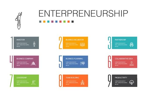 Концепция линии 10 вариантов инфографики предпринимательства. инвестор, партнерство, лидерство, построение команды простые значки
