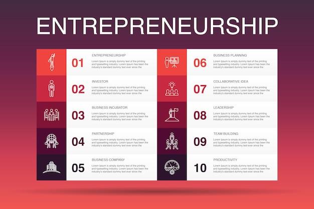 기업가 정신 인포 그래픽 10 옵션 템플릿입니다. 투자자, 파트너십, 리더십, 팀 빌딩 간단한 아이콘