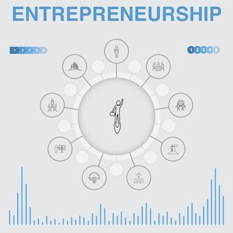 아이콘으로 기업가 정신 infographic입니다. 투자자, 파트너십, 리더십, 팀 빌딩과 같은 아이콘이 포함되어 있습니다.