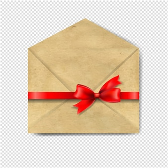 Envelop with red bow  transparent background
