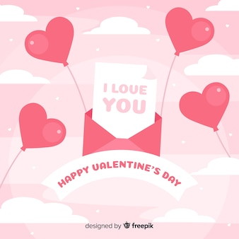 エンベロープと風船のバレンタインデーの背景