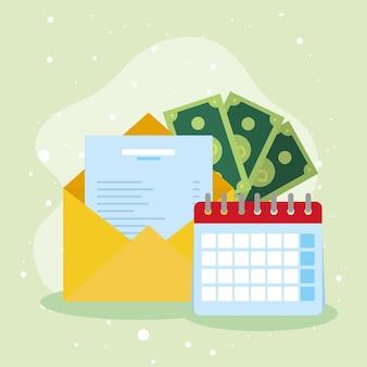 お金で封筒とカレンダー