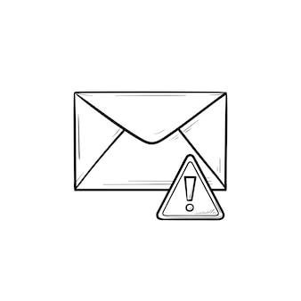 봉투와 느낌표 손으로 그린 개요 낙서 아이콘. 경고 메시지, 스팸 및 맬웨어, 경고 개념. 인쇄, 웹, 모바일 및 흰색 배경에 인포 그래픽에 대한 벡터 스케치 그림.