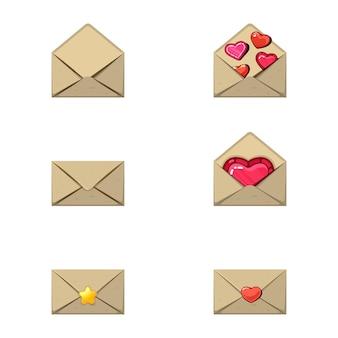 封筒とハートのスタンプ。愛のメッセージ、いくつかのハートと星を空にします。