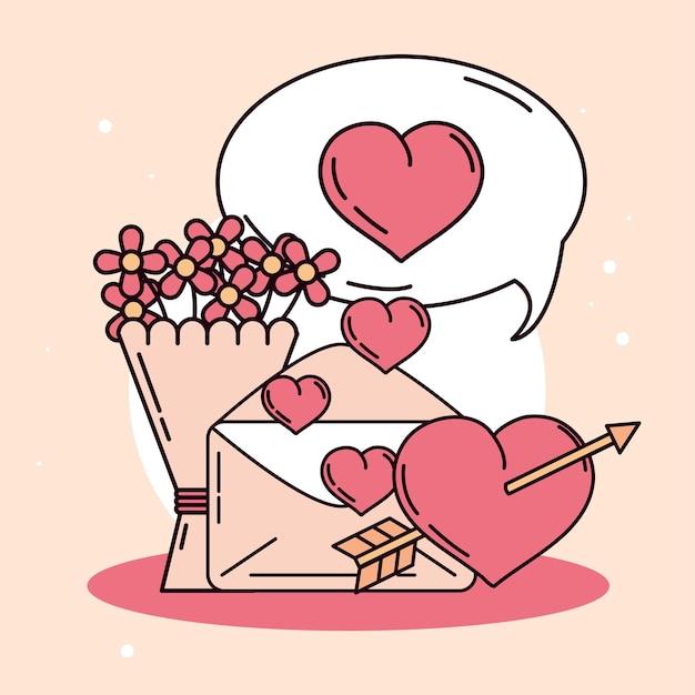 封筒、矢印、ハートと花の花束