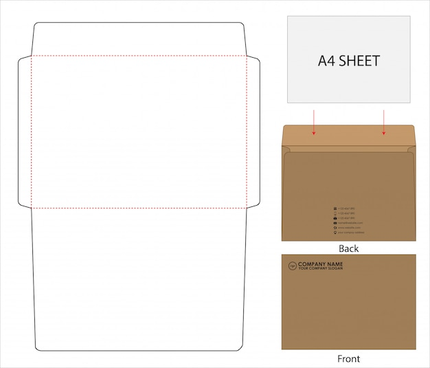 Envelope die cut mock up template