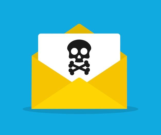 Документ конверт и череп. вирусы, вредоносные программы. иллюстрация
