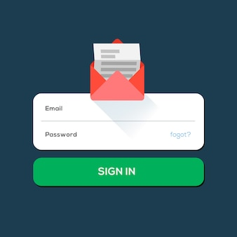 Envelope e-mail flat icon, with log in button, illustration.
