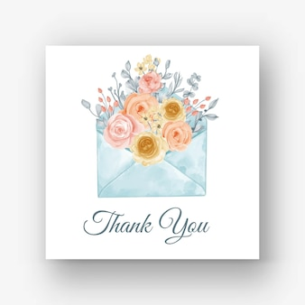 봉투 꽃 파스텔 블루 수채화 그림