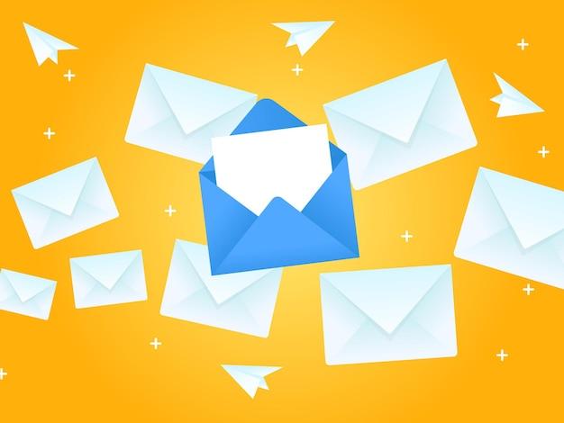Envelope flying in the sky flying message concept illustration