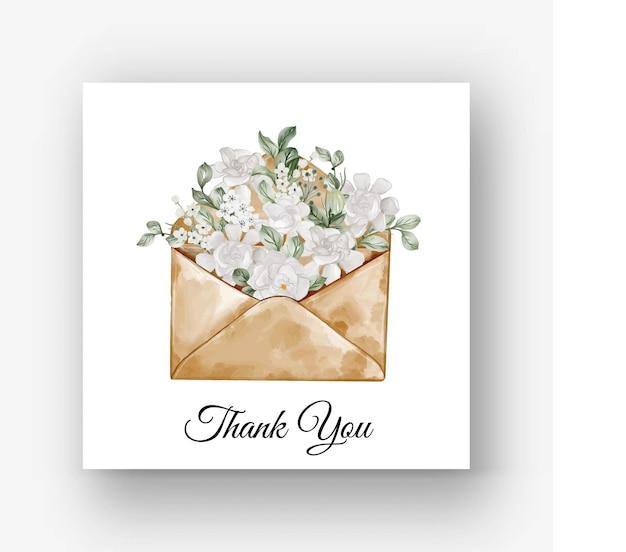 Envelope gardenia white flower watercolor illustration