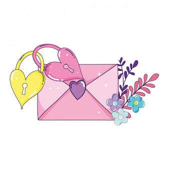 Envelope heart with flowers and padlocks