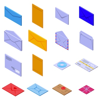 Envelope icons set. isometric set of envelope vector icons for web design isolated on white space