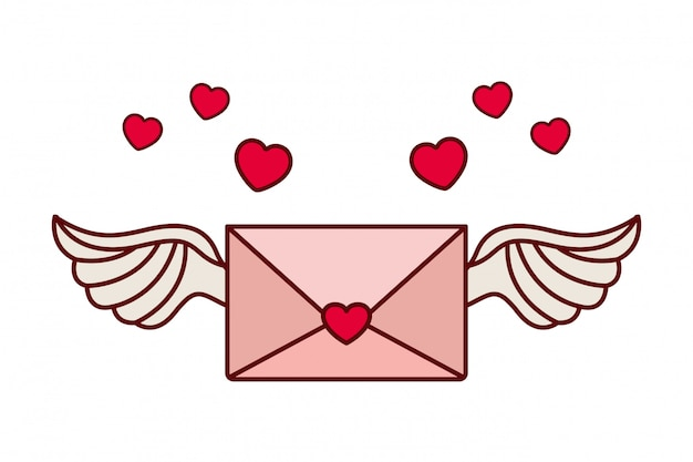 Envelope of letter with heart isolated icon