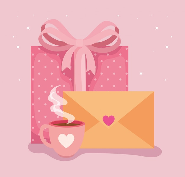 Envelope mail with icons for san valentines day illustration