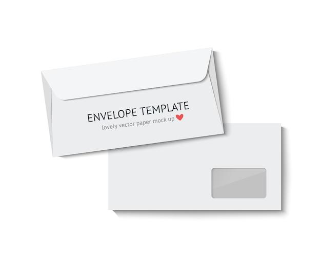 Макет конверта. белые бумажные конверты, изолированные на белом фоне