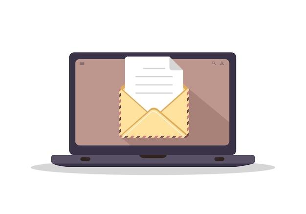컴퓨터 화면에 봉투입니다. 이메일을 보내거나 받는 개념입니다.