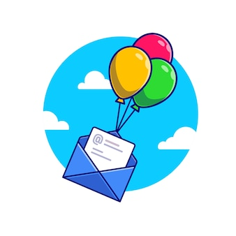 Envelope and paper flying with balloons cartoon  icon illustration. office equipment icon concept