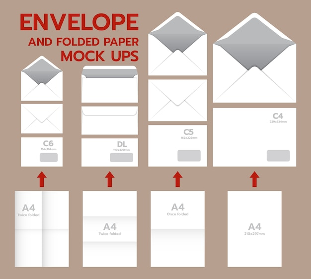 Envelope postal mockup set. realistic illustration of 10 envelope postal mockups for web