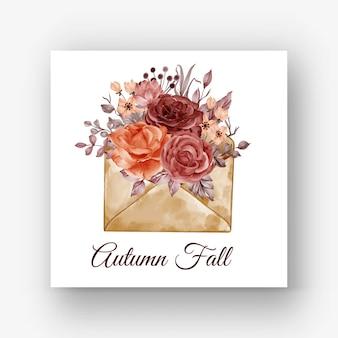 Envelope rose autumn fall flower watercolor illustration