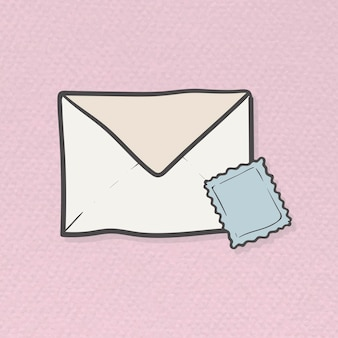 Envelope and stamp doodle template vector