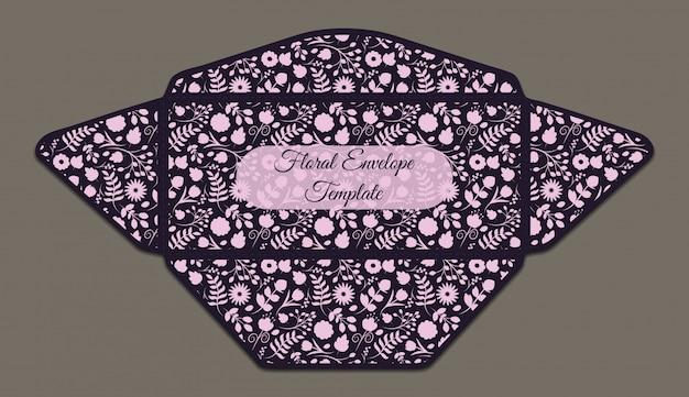 Шаблон конверта с цветочным узором