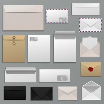 Envelope vector blank of letter on paper mailing to postal mailers address and postcard template illustration set