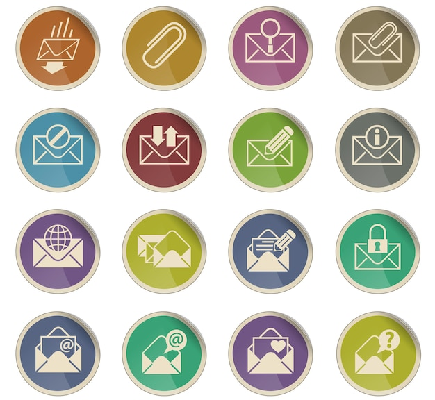 Envelope vector icons in the form of round paper labels