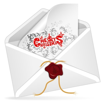 Envelope with christmas card, isolated on white, vector illustration
