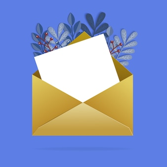 Envelope with colorful leaves and blank letter. Premium Vector