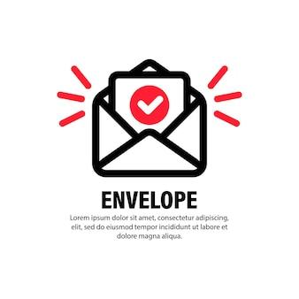 확인된 문서 아이콘이 있는 봉투. 성공적인 전자 메일 배달, 전자 메일 배달 확인, 성공적인 확인 개념. 격리 된 흰색 배경에 벡터입니다. eps 10.
