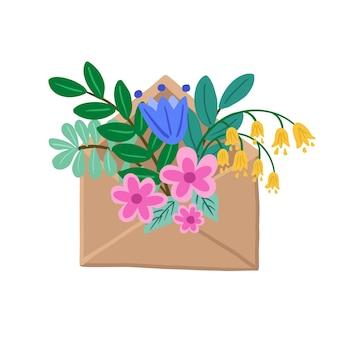 花の封筒。春の花の花束と手描きの色のクラフト封筒。