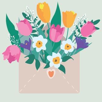 花が入った封筒。おめでとうの封筒に花の花束。