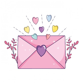 Envelope with heart and leafs plant