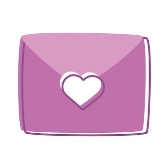 ハートの愛のアイコンと封筒