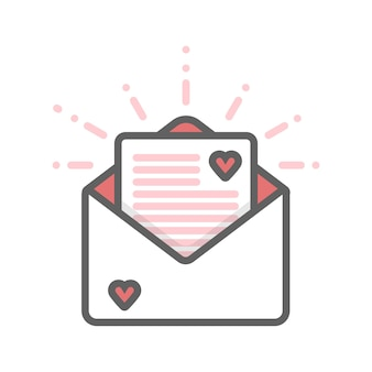 Конверт с сердечками и значок тонкой линии письма.