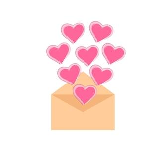 心と封筒ベクトルグラフィック