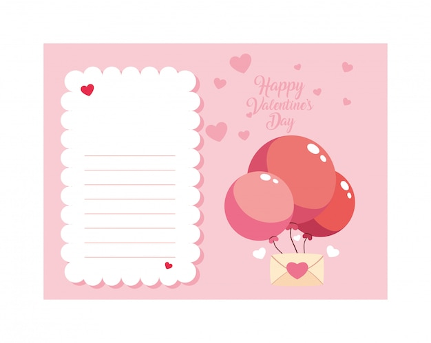 Envelope with helium balloons , valentines day card