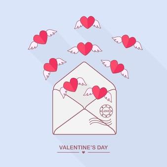 愛のメッセージと空飛ぶ心の封筒