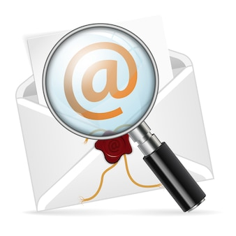 Envelope with magnifying glass. concept - search e-mail