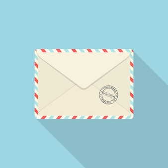 Envelope with mail stamp isolated on blue