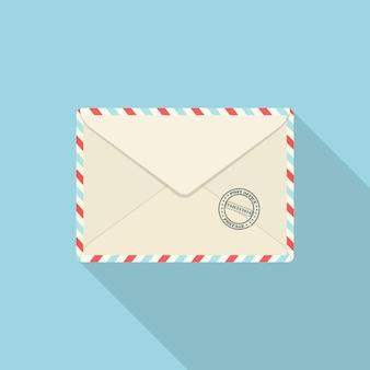 青で隔離のメールスタンプ付き封筒