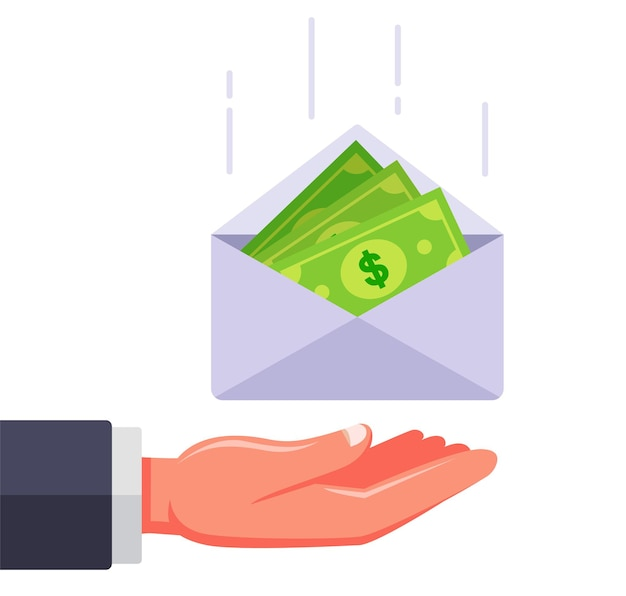 An envelope with money falls into the hand. flat illustration