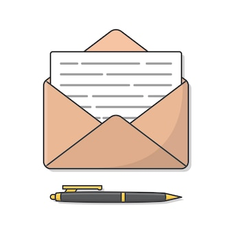 Конверт с бумагой и пером иллюстрации. почтовый конверт и ручка с плоским экраном