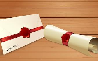 赤ワックスシール付き紙スクロール付き封筒