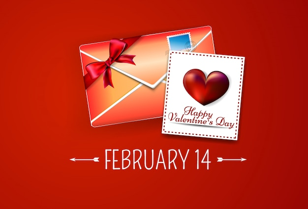 バレンタインの日カードと封筒